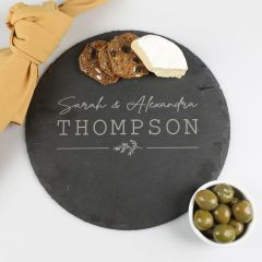 Personalised Engraved Engraved Round Wedding Slate Cheese Board Present
