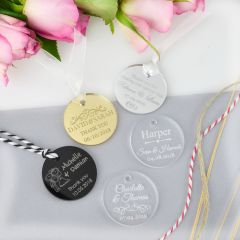 Personalised Engraved Round Acrylic Wedding Favour Gift Tags