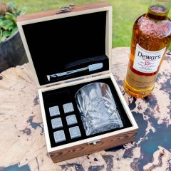 Personalised Engraved  Rustic Wooden Gift Boxed Scotch Glass and Whiskey Stone Set
