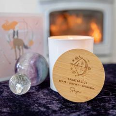 Personalised Engraved Wooden Lid Zodiac Soy Candle Sagittarius with Wood Wick