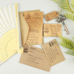 Engraved Personalised Wooden Wedding Sample Pack that include invitations, save the date, rustic key and RSVP and wishing well card