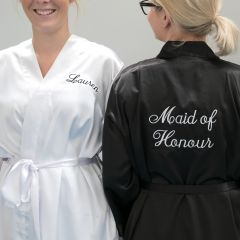 Customised Front & Back Embroidered Bridal Party Maid of Honour Robes