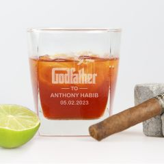 Personalised Engraved Godfather Scotch Glass Present For Christenings, Baptism & Naming Days