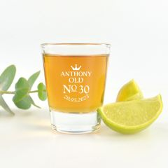 Personalised Colour Printed 30th Birthday shot glass Present