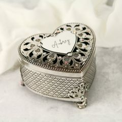Personalised Engraved Silver Heart Jewellery Keepsake Box