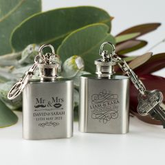 Engraved Wedding Silver Mini Hip Flask For Wedding