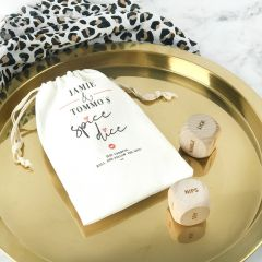 Personalised Engraved wooden dice and printed calico bag game to spice up the bedroom