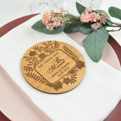 Personalised Engraved Eat, Drink and be Married Wooden Wedding Reception Coaster Favours