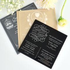 Engraved Square Acrylic Wedding Invitations