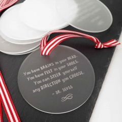 Engraved Student Graduation Frosted Acrylic Christmas Decoration Set of 10