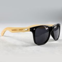 Personalised Engraved Wooden Wedding Sunglasses Favour