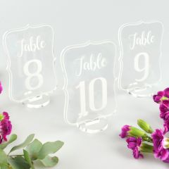 Clear Acrylic Table Numbers with Stand