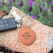 Personalised Engraved Tan Leatherette Keyring Teacher's Gift