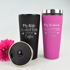 "Personalised Engraved ""My Wife is Hotter"" Black & Pink Valentine's Travel Mug Present"