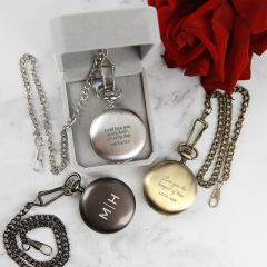 Personalised Engraved Valentine's Day Black, Gold & Silver Pocket Watch Present