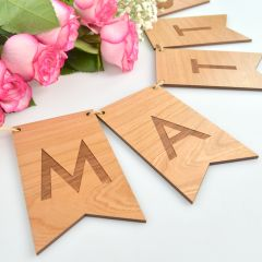 Personalised Laser cut and engraved Wooden Wedding reception and ceremony Bunting