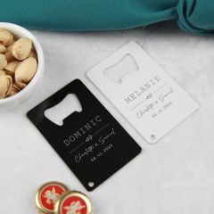 Personalised Engraved Black and White Wedding Credit Card Bottle Opener Favours