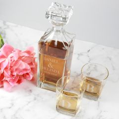 Personalised Engraved Square Scotch glasses and whiskey decanter Wedding Set Bride & Groom Present