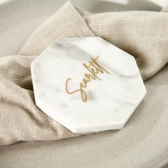 Personalised Engraved Wedding White Octagonal Marble Coaster with Metallic Gold In-fill