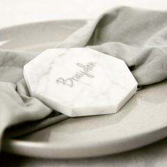 Personalised Engraved Silver In Filled Wedding Guest White Marble Hexagon Place Card Favours
