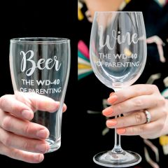 Personalised Engraved Matching Beer and Wine Glasses Parenting survival glasses Present
