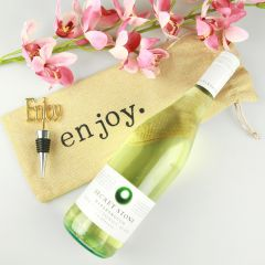 Celebration Wine Hamper include enjoy hessian wine bag, wine bottle and enjoy bottle opener