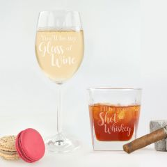 Personalised Engraved Valentine's Day Wine and Whiskey Glassware Set