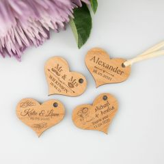Personalised engraved wooden wedding favour heart shaped gift tags