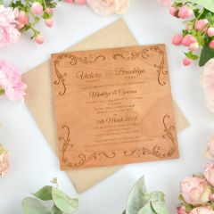 Personalised Engraved Square Wooden Wedding Invitations
