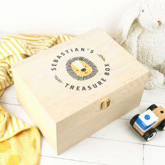 Personalised Printed Wooden Treasure Keepsake Box for Boys