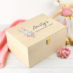 Personalised Colour Printed Wooden Treasure Keepsake Box for Girls