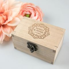 Personalise engraved wooden bride and groom ring box