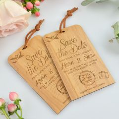 Engraved Wooden Save the Date