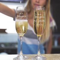 "Personalised Engraved Bar ware ""No 'pagne no gain"" Housewarming, Birthday or farewell Champagne Glasses"
