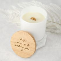 Personalised Engraved Birthday White Wood Wick Soy Candle with Wooden Lid Present