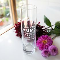 """Engraved Personalised """"Arms that Always Hug & Hold"""" Mother Day Glass Vase Present"""