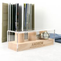 Personalised Engraved Father's Day Tasmanian Oak 3 Column Watch Stand