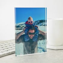 Personalised Colour Printed Father's Day Photo Acrylic Plaque and Message Present