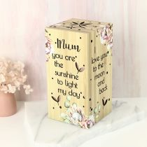 """Laser Cut """"Mum you are the sunshine to light my day"""" Light Cube Mother's Day Gift"""