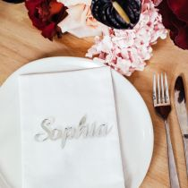 silver laser cut acrylic name place cards