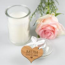 French Tipped Jasmine Mother's Day Candle with Personalised Engraved Heart Shaped Wooden Gift Tag Present