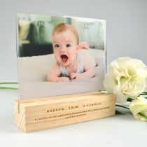 Mother's Day Acrylic photo Frame with Personalised Engraved Wooden Base Present