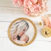 Personalised Printed Mother's Day Photo on Round Bamboo Card With Magnet Present