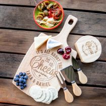 Personalised engraved bride and groom Paddle Board & Cheese Knife wedding gift Set