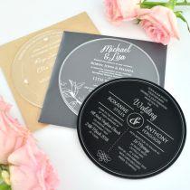 Personalised Engraved Round Acrylic Wedding Invitations
