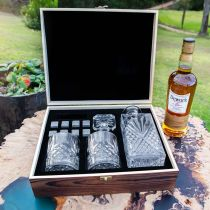 Personalised Engraved Rustic Wooden Gift Boxed Decanter, Scotch Glasses and Whiskey Stone Set Father's Day Gift