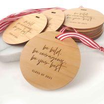 Engraved Student Graduation Wooden Christmas Decoration Set of 10