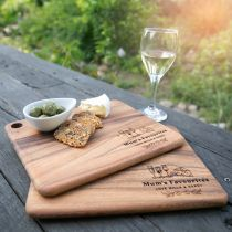 Personalised Engraved Twin Set of Wooden Chopping Serving Cheese Rectangle Boards Mother's Day Gift