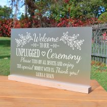 """Personalised Engraved """"Welcome to our unplugged Ceremony"""" Frosted acrylic Wedding Sign"""