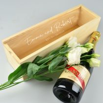 Personalised engraved wedding bride & groom gift champagne wooden box